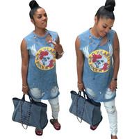 leichte löcher großhandel-Halloween-Frauen-hellblaues Kleid-Sommer-Tank-Kleider Denim-blaue Löcher Entwerfer-Kleidungs-Kleid