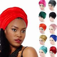 Wholesale longs winter beanies for sale - Group buy Muslim Long Tail Cap Velvet Turban Cap Classic Hijab Women Headband Wrap Turbante Fashion Indian Headkerchief LJJV152
