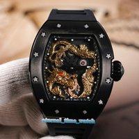 relógio de discagem preta china venda por atacado-Edição limitada RM 057 Jackie Chan preto de esqueleto 3D China Dragon Totem Dial Miyota Mecânica RM057 Mens Watch Rubber Strap Desporto Relógios