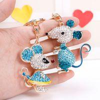 ratinhos de resina venda por atacado-EASYA 2 estilos Adorável Rato Keychain completa Cristal animal Keyring de titulares Bag Mulheres Acessórios chave do carro cadeia de jóias