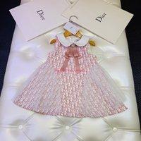 tecido para vestidos de meninas venda por atacado-Vestido da menina Primavera / outono e inverno moda crianças roupas de grife carta vestido de colete vestido de poliéster vestido de festa vestidos