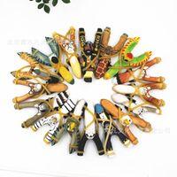 artesanías de animales de madera al por mayor-MixedStyles creativo de talla de madera de la catapulta de la historieta animal Animales de madera Slingshot Crafts niños y regalo pintada a mano