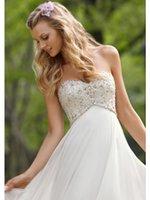 schatz trägerlosen chiffon reich hochzeitskleid großhandel-Neue Ankunft Sexy A Line Brautkleider Schatz Liebsten Kristalle Perlen Chiffon Lange Brautkleider Brautkleider