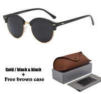 mens runde rahmen großhandel-2020 Mode Runde Sonnenbrille für Herren Damen Markendesigner Sonnenbrille Damen Herren Plank Frame Flash Mirror UV400 Objektiv mit Etui und Box