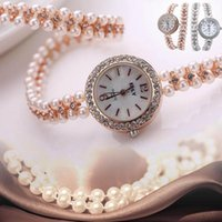 Wholesale pearl wrist watch for sale - Group buy Women Faux Pearl Chain Bracelet Wrist Analog Quartz Round Dial Watch Crystal