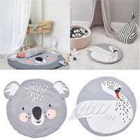 babytierbettwäsche groihandel-Infant Animal Print Spielmatten Kinder Krabbeln Teppichboden Teppich Baby Bettwäsche Kaninchen Decke Baumwolle Spiel Pad Kinderzimmer Matte 95 cm J190508