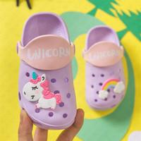 Wholesale fashion cartoon slippers resale online - Boys Girls Summer Fashion Flat Sandals Children s Cartoon Unicorn Cave Shoes Antiskid Baby Slippers Beach Flip Flops Kids outdoor D62207