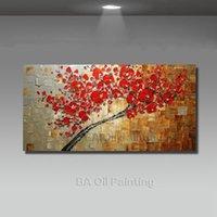grandes pinturas a óleo emolduradas venda por atacado-Pinturas Handmade Abstract Canvas Oil Red Decoração Arte Moderna 1pcs Grande Pictures parede para sala de estar Sem Framed HF0011 Y18102209