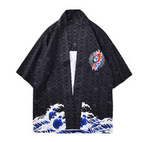 кимоно оптовых-Vintage Kimono 2019 Summer Men Japan Style Stand Collar Black Printed Half Sleeve Shirt Japanese Men Loose Hip Hop Style Shirt
