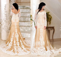 Wholesale kaftan dress dubai wedding for sale - Group buy Muslim Champagne Mermaid Wedding Dresses with Long Sleeve Modest Full Lace Embroidery Jewel Islamic Dubai Kaftan Arabic Bridal Dress