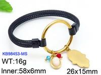 weißgold hamsa armband großhandel-Spanisch Luxus Frauen Edelstahl Runde Kreis Silber Schwarz Rose Gold Hamsa Weiß Stein Charme Armreif Pulseras Osos C19041001