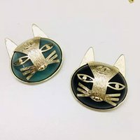 Wholesale gold cat brooches resale online - Europe and America Popular Fashion Pins Broochs Yellow Gold Plated Kitty Cat Brooches Pins for Girls Women Nice Gift