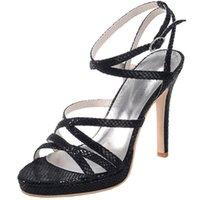 ingrosso scarpe marrone gladiatore-sandali donna in pelle di serpente scarpe estive banda stretta cinturino alla caviglia tacco alto Gladiatore tacco partito donna sexy marrone