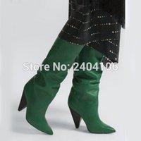 черные простые туфли кожаные женщины оптовых-Черный Красный Зеленый Обычная Кожа Колено Высокие сапоги Женщина шпильках Осень обувь Мода Мотоцикл пинетки Остроконечные Toe Botas Mujer