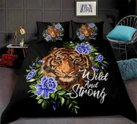Wholesale tiger 3d bedding set for sale - Group buy floral Tiger Bedding Set D Floral Duvet Cover Set Watercolor Animal Piece for boy flowers Bed Cover Bedspreads Queen size