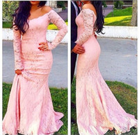 Wholesale back photos women for sale - Group buy 2020 Elegant Pink Off shoulder Mermaid Prom Evening Dresses for Women Long Illusion Sleeves Lace Bodice Party Formal Dress Cheap