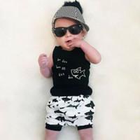 colete preto para menina da criança venda por atacado-Bebê recém-nascido da criança crianças meninas verão roupas de algodão sem mangas set black shark impressão top + calça curta 2 pcs roupas casuais