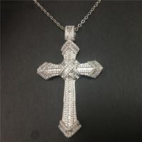 moda jóias cruz grande venda por atacado-Vecalon moda hiphop grande cruz pingente 925 prata esterlina festa de diamante pingentes de casamento com colar para mulheres homens jóias
