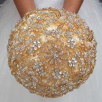 ingrosso colori del nastro di raso-37 Colours Satin Ribbon Wedding Bouquet da sposa Fiore artificiale Cristalli d'oro Strass Sweet 15 Quinceanera Bouquets W888G