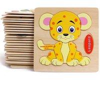 ingrosso bloccare giocattoli animali-Bambino 3D Puzzle di legno Giocattoli educativi per bambini Building Blocks Giocattoli di legno Jigsaw Craft Animali Spedizione gratuita