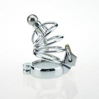 ingrosso la più piccola spina di castità-Cintura di castità maschile in acciaio inossidabile con catetere uretrale in metallo Cintura di castità maschile in metallo con catetere uretrale plug sex toys