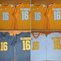 jerseys de futebol frete grátis venda por atacado-Fábrica Outlet- # 16 Peyton Manning, Tennessee Volunteers NCAA College Football Jerseys Novo estilo de jogo costurado Jersey, frete grátis