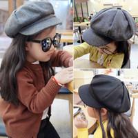 erkek çocuk şapkaları toptan satış-Sonbahar Kış Bere Şapka Kapaklar Bebek Çocuk Erkek Kız Yün Newsboy Sanatçı Düz Kap
