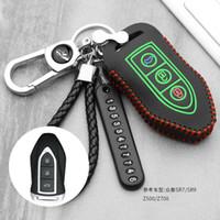 keyless fernhalter großhandel-Luminous Leder Autoschlüssel Fob Cover Fall schützen Haut Set Kapuze für Zotye T600 T700 Remote Keyless Keychain Schlüsselanhänger Halter