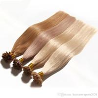 italienisches menschliches haar großhandel-# 613 Farbe U Spitze Haarverlängerungen Italienische Keratin Fusion Haarverlängerung Brasilianische Blonde Remy Menschenhaar 1G / Strang 100 Teile / los Nagelspitze