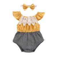 faixa de cabeça amarela para bebê venda por atacado-Meninas do bebê Macacão Bandage Bow Elastic Impresso Macacão Infantil Criança Roupas Amarelo Camisa de Manga Voadora + Borboleta Nó Headband SuitC11