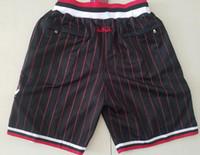 New Shorts Team Shorts 97-98 Vintage Baseketball Shorts Zipper Pocket Running Clothes Black Stripe White Red Just Done Size S-XXL