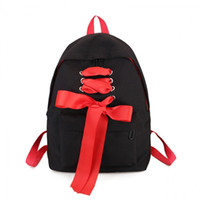 dantel tuval çantası sırt çantası toptan satış-Japon Dantel Ilmek Sırt Çantası Genç Kızlar Için Sevimli Kadın Schoolbag Tuval Bayanlar Öğrenci Moda Kitap Çantası