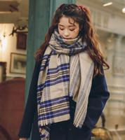 tartan schal koreanisch großhandel-Bunter Plaidschal weiblicher wilder Studentenherbst und Winter koreanische Version des starken britischen Windschals