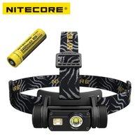 фонарик кри у2 оптовых-Nitecore HC65 светодиодный фонарик Cree XM-L2 U2 + CRI + RED LED 1000lm USB аккумуляторная Фара с 1шт 3400mAh 18650 Battery