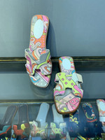 Wholesale flat platform flip flops resale online - Graffiti Oran Sandal Women Designer Platform Shoes Painted Flip Flop Summer Spring Open Toe Slipper Women Breathable Leather Sandals