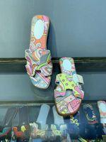 zapatilla plataforma mujer punta abierta al por mayor-Graffiti Oran Sandalia Mujer Diseñador Zapatos de plataforma Pintado Flip Flop Verano Primavera Zapatillas de punta abierta Mujeres Transpirable Sandalias de cuero