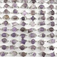 anel de pedra natural ametista venda por atacado-Anéis de pedra ametista natural Anel de jóias de pedras preciosas Bague 50 pcs Presente do Dia dos Namorados