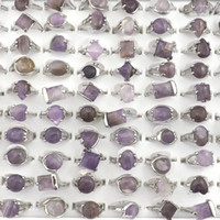 aaa zirkonoxid ringe großhandel-Natürlicher Amethyst Stein Ringe Edelstein Schmuck Damen Ring Bague 50er Valentinstag Geschenk