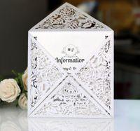 resim yılbaşı kutuları toptan satış-Içi boş kesim düğün davetiye Düğün Malzemeleri beyaz Baskı İç Zarf KKA7054 olmadan düğün davetiyesi kartları