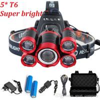chargeurs de batterie ac dc achat en gros de-15000 Lumens 5 LEDs T6 phares 4 modes Zoomable LEDs rechargeables Lampe de poche Tête + 2 * 18650 batterie + AC / DC Chargeur + BOX