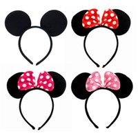 Wholesale dot cosplay online - 5 Color Girls Hair Accessories Mouse Ears Headband Dot Bow Hair Band Baby Kids Cute Cosplay Designer Headdress Hoop MMA1393
