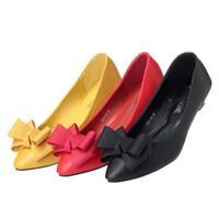asakuchi ayakkabıları toptan satış-Fascinating2019 kadın Sezonu Keskin Yay Yumuşak Erişte Tek Asakuchi Ayakkabı Pu Havalandırma Ayakkabı Ile Düşük