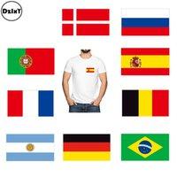 ingrosso patch personalizzati-Adesivi personalizzati in cotone con bandiera del mondo su adesivi per bambini Etichette adesive personalizzate su t-shirt country strisce @T