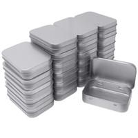 cajas de hojalata al por mayor-Metal Rectangular Vacía Latas con bisagras Contenedores de cajas Mini Caja portátil Pequeño kit de almacenamiento Organizador doméstico 3.75 por 2.45 24pcs / set