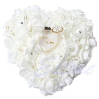 almofada de casamento em forma de coração venda por atacado-Decorações de casamento Chique Coração-forma Flores do Dia Dos Namorados Anel de Presente Travesseiro Almofada Pincushion Anel decoração do partido de casamento