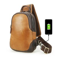Wholesale sling backpacks for sale - Group buy Men Vintage Leather Satchel Shoulder Sling Chest Pack Bag Cowhide Sling Crossbody Backpack Genuine Leather Chest Bag USD Charger LX5114FQ