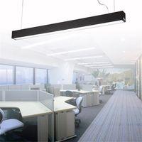 lámparas de techo de plata al por mayor-120 cm oficina LED de aluminio rectangular colgante luz de techo moderno de plata lámpara de lámpara led para comedor restaurante oficina