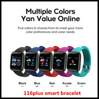 Wholesale usb monitoring camera resale online - 116plus Smart Bracelet Band step sleep monitoring IP67 waterproof USB direct charge heart rate fitness tracker Bluetooth smart watch