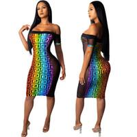 kadın için kravat boya elbiseleri toptan satış-Kadın Gökkuşağı Kravat Boyalı Straplez Elbise Yaz Bodycon Elbiseler Seksi Örgü Elbise