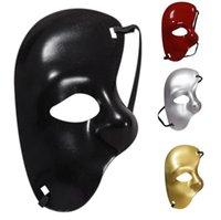 máscaras de mascarada al por mayor-Mitad izquierda máscara plástica de la mascarada de Halloween Prom Máscaras unisex Diseño fresco Máscara del partido del hombre vestir Suministro envío de la gota